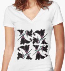Pattern brush flower Women's Fitted V-Neck T-Shirt