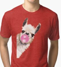 Sneaky Llama with Bubble Gum Tri-blend T-Shirt