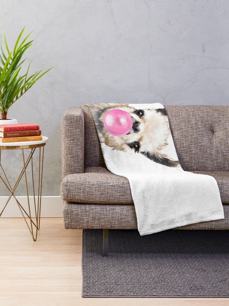Alternate view of Sneaky Llama with Bubble Gum Throw Blanket