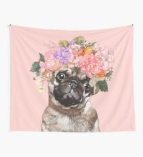 The Melancholic Pug with Flowers Crown in Pink Wall Tapestry