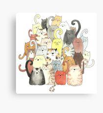 A Clowder of Colourful Cats Metal Print
