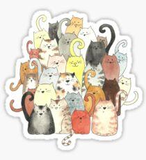 A Clowder of Colourful Cats Sticker