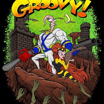 Earthworm Jim vs The Army of Darkness! by JCoulterArtist