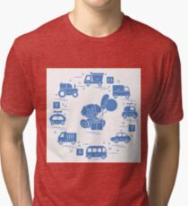 Baby cars, cubes, puppy, gift, balloons. Tri-blend T-Shirt