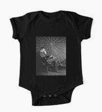 Nicola Tesla, sitting in front of a spiral coil One Piece - Short Sleeve