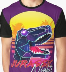 JURASSIC NIGHTS - Miami Vice Vapor Synthwave Dinosaur Graphic T-Shirt