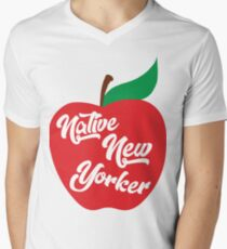 Native New Yorker Apple Men's V-Neck T-Shirt