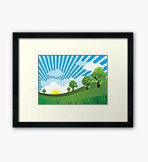 Green Grass Sunrise Landscpape Framed Print