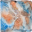 orange watercolour with flowers by samclaire