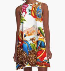 KUBA: Weinlese-Habana-Zigarren-Werbungs-Druck A-Linien Kleid
