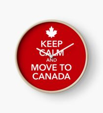 keep calm move to Canada Maple Leaf Canada Clock