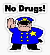 No Drugs Cartoon Policeman Anti-Drug Color Sticker