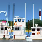 Boats on the Dock by JayBakkerArt