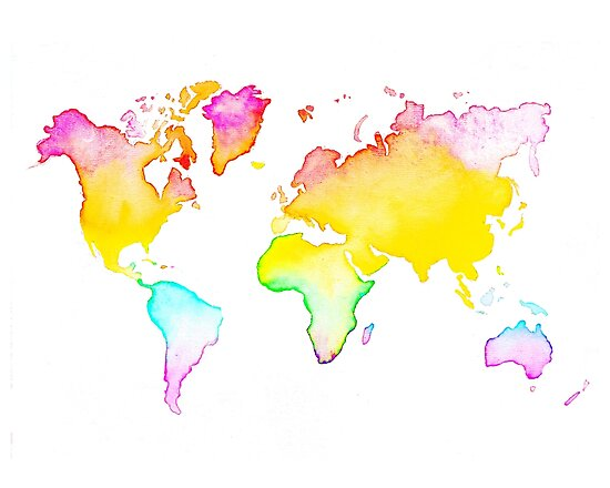 Rainbow World Map Posters By Janabstra Redbubble