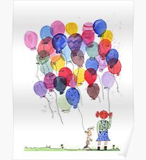 Girl with balloons whimsical watercolor illustration Poster
