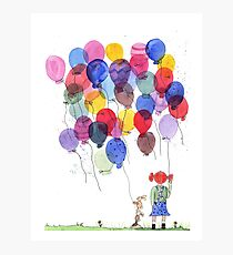Girl with balloons whimsical watercolor illustration Photographic Print