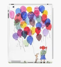 Girl with balloons whimsical watercolor illustration iPad Case/Skin