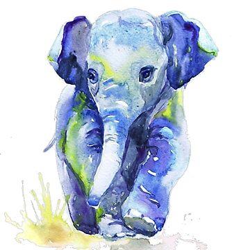 Baby Elephant Blue by PragmaticFalcon