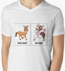 Your Aunt My Aunt Funny Cute dabbing Unicorn T-shirt - Unicorn Dabbing - Dab Dance for kids , Stickers ,Clothes kids Men's V-Neck T-Shirt