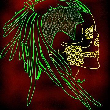 Neon skull by Novaheartsart