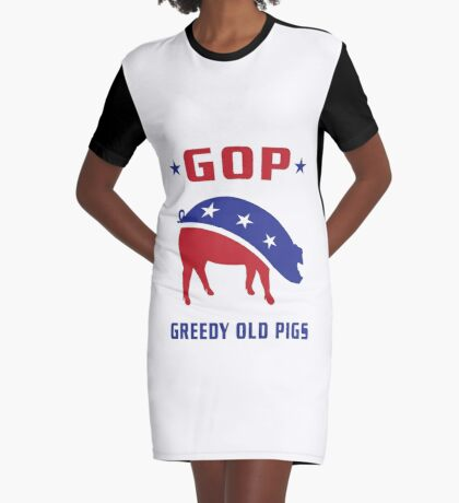 GOP Greedy Old Pigs Graphic T-Shirt Dress
