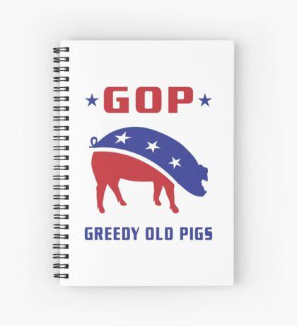 GOP Greedy Old Pigs Spiral Notebook