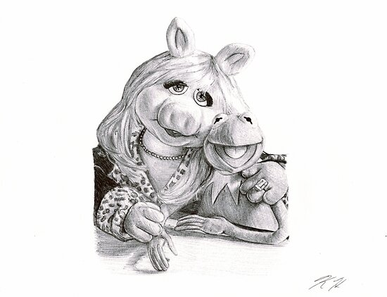 Kermit and Miss Piggy - Ballpoint Pen by Krystle Hickman Art