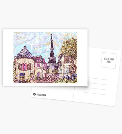 Paris Eiffel Tower inspired pointillism landscape by Kristie Hubler Postcards