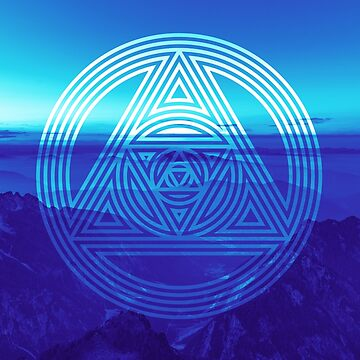 Blue Interlocking Triangles Sacred Geometry Design by calebprue