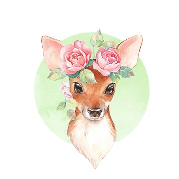 Fawn and pink roses by Gribanessa