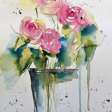 Watercolor flowers - bouquet of roses by Britta75
