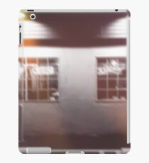 night light in the city outside the restaurant in black and white iPad Case/Skin