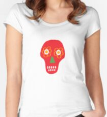Pattern made of traditional Cinco de Mayo skull. Mexican Fiesta Cinco de Mayo  Party Invitation.  Women's Fitted Scoop T-Shirt