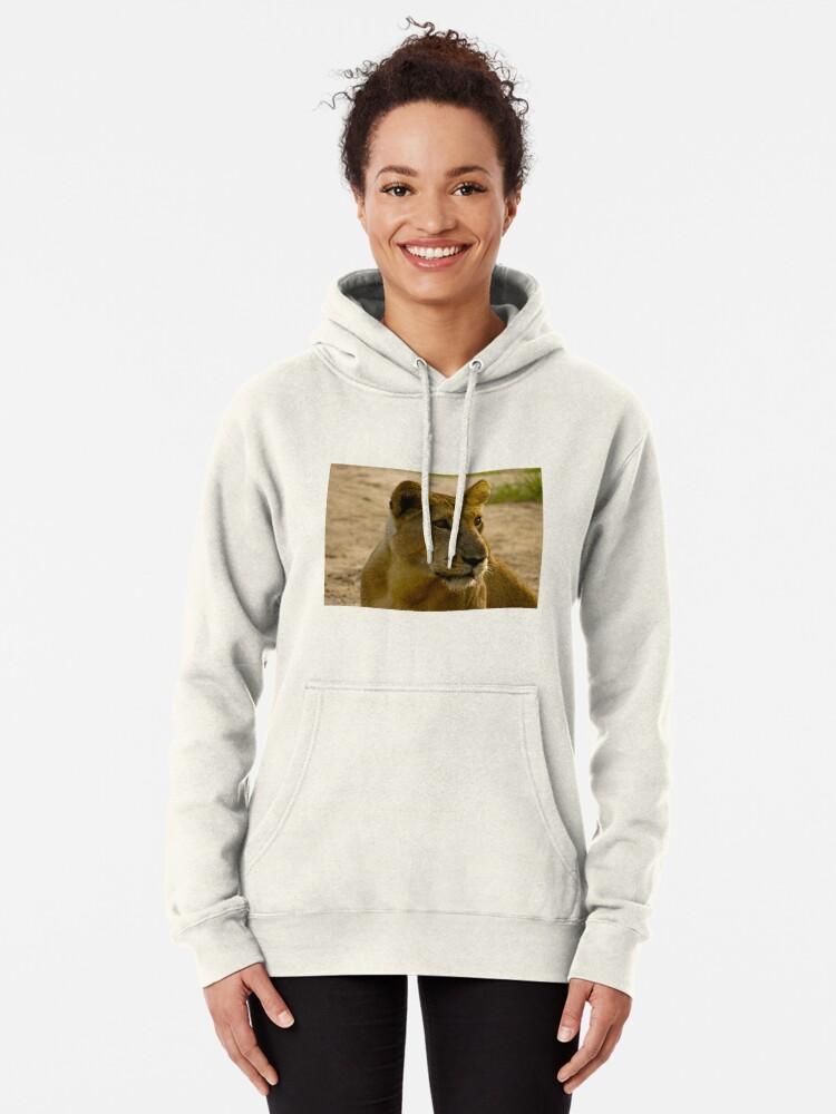 Alternate view of pregnant lioness relaxed Pullover Hoodie