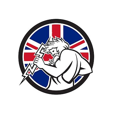 Zeus With Thunderbolt Union Jack Flag Icon by patrimonio