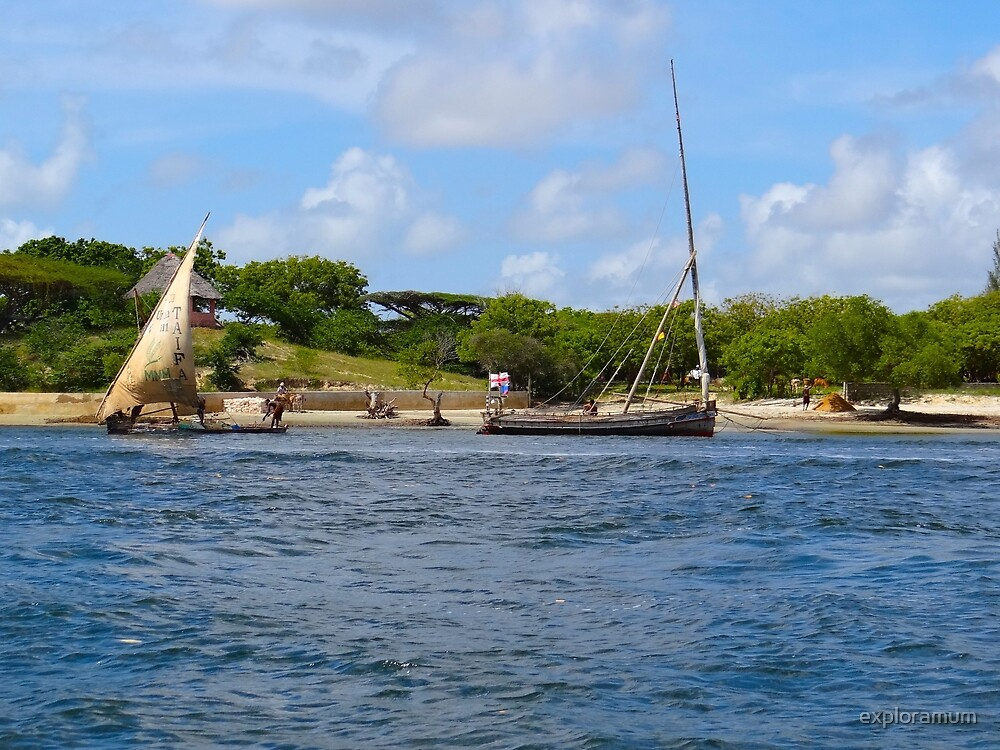 Lamu Island - wooden fishing dhows in the distance by exploramum