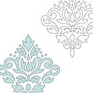 Scroll Damask Art I (outline) Blue Gray White by NataliePaskell