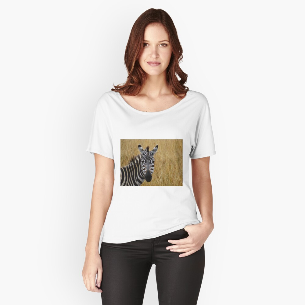Zebra half shot face on Women's Relaxed Fit T-Shirt Front