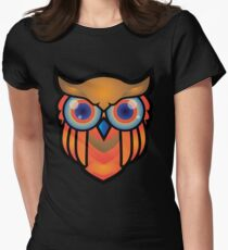 cool owls and cool design print  Women's Fitted T-Shirt