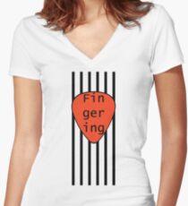 Fingering plectrum strings design Women's Fitted V-Neck T-Shirt