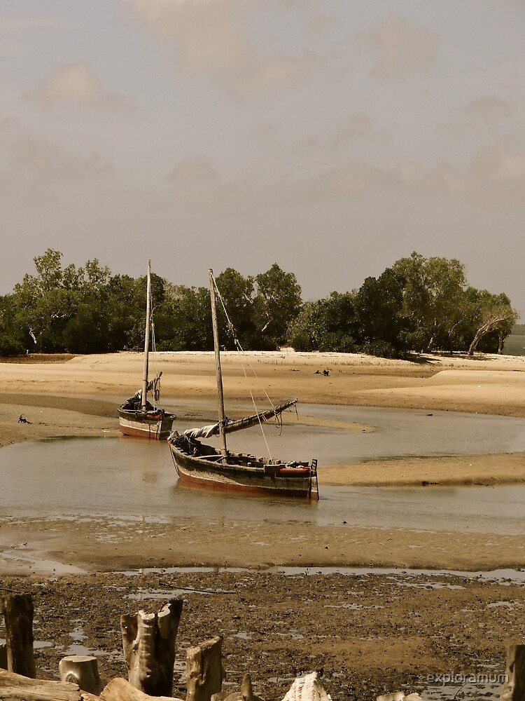 Lamu Island - wooden fishing dhows at low tide with pier - antique by exploramum