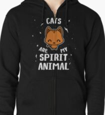 Cats Are My Spirit Animal Zipped Hoodie