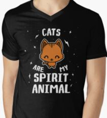Cats Are My Spirit Animal Men's V-Neck T-Shirt