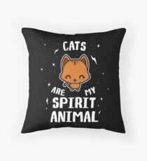 Cats Are My Spirit Animal Throw Pillow