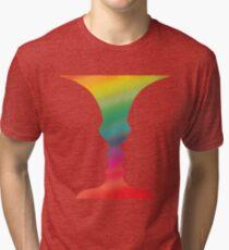 Rubin Faces Vase Gestalt Drawing Tri-blend T-Shirt