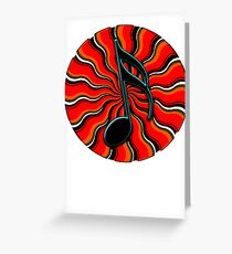 Red Hot Semiquaver - 16th Note Music Symbol Greeting Card
