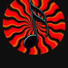 Red Hot Semiquaver - 16th Note Music Symbol by VisionQuestArts