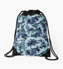 Navy camouflage Drawstring Bag