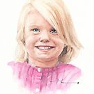 granddaughter pink sweater watercolor by Mike Theuer
