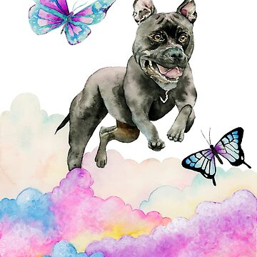 Leap! - Pit Bull Dog, Rainbow Clouds, and Butterflies by namibear